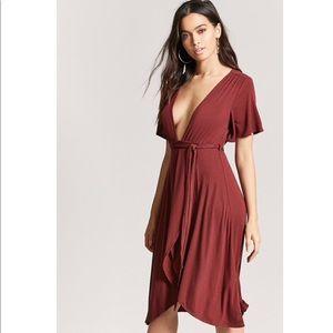 Ribbed Plunging Wrap-Front Burgundy Slit Dress Med